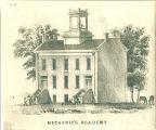 Architectural drawing of Mechanics' Academy, the University of Iowa, 1850