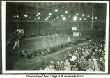 Freshman basketball team and a game in the Armory, The University of Iowa, 1928