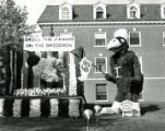 Grill the Jayhawks on the Gridiron Homecoming lawn display by Stange House and King House, 1968