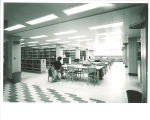 Studying in the Main Library reference area, the University of Iowa, April 1970