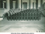 Cadets of Company B-2 on steps of the Old Capitol, The University of Iowa, ca. 1943