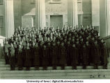 Cadets of Company E-2 on steps of the Old Capitol, The University of Iowa, ca. 1943