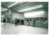 Circulation desk at Main Library in the North Exhibition Hall, the University of Iowa, 1970