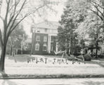 "Beta Theta Pi Homecoming lawn display, """"Splat that Cat,"""" 1953"