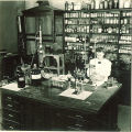 Pharmacy student working in laboratory, The University of Iowa, 1940s