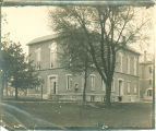 Old North Hall viewed from the southeast with Old Dental Building in background, The University of Iowa, 1900s