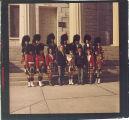 Scottish Highlanders on steps of Old Capitol, The University of Iowa, November 7, 1970