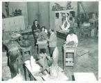 Art students sculpting, The University of Iowa, January 17, 1957