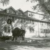 """Kappa Kappa Theta Homecoming lawn display, """"""""Cyclone scrambles buffalo,"""""""" 1952"""
