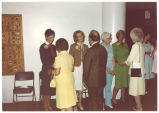 Receiving line for Iowa Women's Hall of Fame award winners, Louise Noun, Roxanne Barton Conlin and Mary Garst, August, 1981