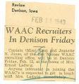 WAAC recruiters in Denison Friday