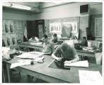 Art students in printmaking studio, The University of Iowa, 1960s