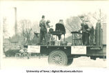 Welding float in Mecca Day parade, The University of Iowa, 1921