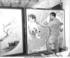 Member displaying his artwork, Atarashiki Mura commune, Saitama-ken, Japan, 1965