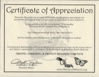 Certification of Appreciation for becoming a Monarch Waystation.