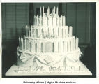 Centennial birthday cake, Centennial Dinner, Iowa Memorial Union, University of Iowa, February 25, 1947