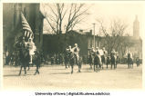 Knights on horseback in Mecca Day parade, The University of Iowa, 1916