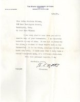 Frank L. Mott letter to Helen Patricia (Patsy) Wilson exchanging bookplates.