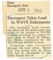 Davenport takes lead in WAVE enlistments