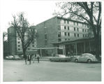 Walking across Clinton Street from Burge Residence Hall, the University of Iowa, 1960s?