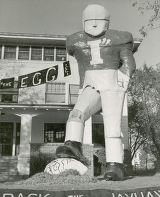 "Delta Tau Delta lawn display, """"Crack the Jayhawks"""", Homecoming, 1950"