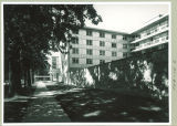 Davenport Street side of Burge Residence Hall, the University of Iowa, 1960s?