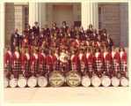 University of Iowa Scottish Highlanders on steps of Old Capitol, April 16, 1977