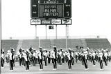 ISU Marching Band practicing for Homecoming 1987