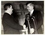 Henry A. Wallace shaking hands President Manuel Avila Camacho, Mexico, 1943