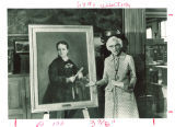 Louise Noun with Annie Savery portrait at the Iowa Historical Building, Des Moines, Iowa, August 26, 1972