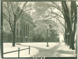 Sidewalks to Macbride Hall and the Old Dental Building in winter, the University of Iowa, 1950s?