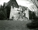 "Gamma Phi Beta's lawn display, """"Catastrophe"""", Homecoming, 1957"