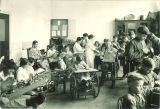 Patients gathered in Children's Hospital work room, The University of Iowa, December 1920