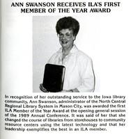 Ann Swanson ILA Member of the Year 1989