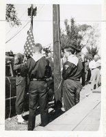 Unidentified Boy Scouts  Prepare to Raise American Flag