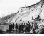 People near Dakota and Benton formations near Old Crills Mill on Sioux River below Westfield, Iowa, late 1890s or early 1900s