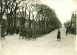 Armistice Day Parade on Clinton Street, The University of Iowa, November 11, 1918