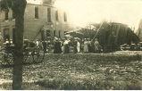 Building ruins after explosion, Fredericksburg, Iowa, June 22, 1909