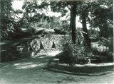 Walkway with stone steps leading to Quadrangle Hall, the University of Iowa, 1930s