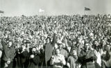 Cheering crowd at Homecoming football game, 1959