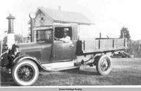 Early gas station, Homestead, Iowa, ca.1920s
