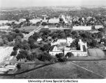 Quadrangle Residence Hall, tennis courts, University Hospitals under construction, The University of Iowa, 1925