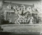"""Omega House Lawn display, """"""""ISC Misery for Missouri"""""""", Homecoming, 1941"""