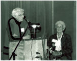 Louise Noun and Mary Louise Smith at the Iowa Women's Archives opening symposium, Iowa City, Iowa, October 28, 1992