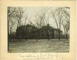 Rear entrance of University Hospital in winter, the University of Iowa, 1903