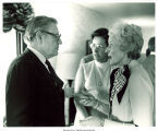 Mary Louise Smith speaking with Vice Pres. Nelson Rockefeller at the Lincoln Day Dinner, Des Moines, Iowa, 1976