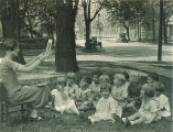 Children and teacher in outdoor class, The University of Iowa, 1920s