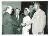 Iowa State Board of Regents president Harry Hagemann with new members Alfred Noehren, Mrs. Robert Valentine, Maurice Crabbe and Art Wrebenstedt, June 19, 1959