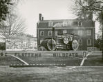 "Sigma Nu lawn display, """"ISC Flattens Wildcats,"""" Homecoming, 1949"