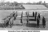 Cadets rifle drill on Iowa Field, The University of Iowa, 1919